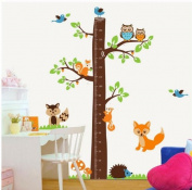 Large jungle owl tree wall sticker baby boys girls bedroom growth chart decal woodland fox squirrel hedgehog wall decor for baby nursery removable