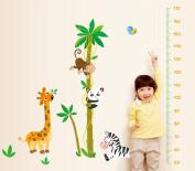 ufengke® Cartoon Animals Cute Monkey Panda Zebra Giraffe Height Chart Decals, Children's Room Nursery Removable Wall Stickers Murals