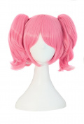 MapofBeauty Lolita Pink Short Straight Clip on Ponytails Cosplay Wig