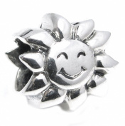 Queenberry Sterling Silver Smily Sun Happy Face Sunflower Bead For Pandora Troll Chamilia Biagi European Charm Bracelets