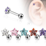 Piercing Boutique Surgical Steel Gem Star Tragus Cartilage Stud 1.2mm Bar Thickness (16g) x 6mm Bar Length Length Clear