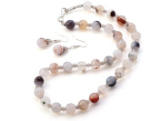 TreasureBay Fashion Icon 4-10mm Grey Agate Gemstone Necklace and Earrings Jewellery Set