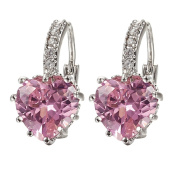 Shining Women's Charming Heart Leverback White Gold Plated Pink Crystal Earrings