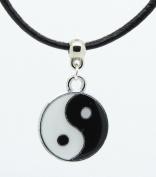 Enamelled yin yang ying yan tao charm on a Premium leather choker necklace chocker - Handmade in UK -