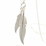 Sterling Silver Twin Feathers Pendant with 2.3cm Sterling Silver Chain
