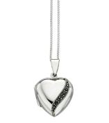 Elements Sterling Silver Ladies Marcasite Detail Heart Locket of Length 41-46cm