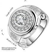 fashion 925 sterling silver jewellery chunky round band zircon noble upscale ring size 8