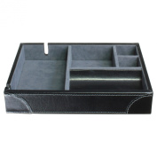 Dulwich Designs 'Heritage' Classic Premium Leather 5 Section Valet Tray for Men's Accessories, Executive Black with Grey Suedette Lining