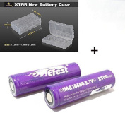 2 Genuine Efest Purple 18650 2500mAh 35A IMR High Drain FLAT TOP batteries, Independently tested + RUGGED XTAR STORAGE CASE