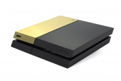 BLACK Carbon Fibre & Brushed Metal GOLD TWO TONE Accessory Wrap Sticker Skin Cover Decal for Playstation 4 PS4