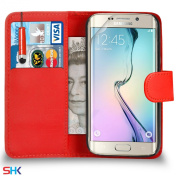 Samsung Galaxy S6 Edge Premium Leather Red Wallet Flip Case Cover Pouch + Mini Touch Stylus Pen + Screen Protector & Polishing Cloth SVL1 BY SHUKAN®,
