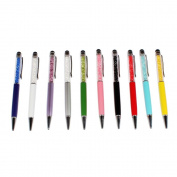 Accmart 2 in 1 Colourful Bling Crystal Capacitive Stylus With Ball Point Pen,Pack of 10