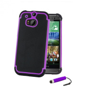 32nd® Shock proof dual protection defender case cover for HTC One Mini 2 (M8 Mini) + screen protector, cleaning cloth and touch stylus - Purple
