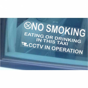 2 x Taxi Minicab Window Stickers-No Smoking,Eating,Drinking,CCTV In Operation Warning Hackney Mini Cab Sign