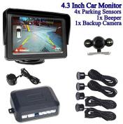 BW® 11cm LCD Colour Car Monitor Rearview + Backup Camera Night Vision Reversing + 4* Parking Sensors 1 *Beeper