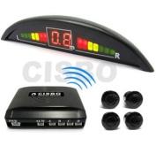 white Parking Reversing Sensor Kit 4 Sensors LED Display & Audio Buzzer