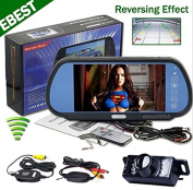 BW® 18cm TFT LCD Key Touch Car Rearview Mirror Monitor + Parking Waterproof Night Vision Wireless Backup Camera System
