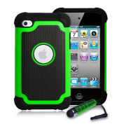 32nd® Shock Proof case cover for Apple iPod Touch 4 (4th generation) + screen protector, cleaning cloth and stylus pen - Green