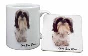Shih-Tzu 'Love You Dad' Mug and Table Coaster, Ref:DAD-124MC