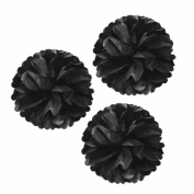 Wrapables Tissue Pom Poms Party Decorations for Weddings, Birthday Parties, Baby Showers and Nursery Decor, Black, 30cm , Set of 3