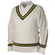 Cricket Sweater Traditional Style Acrylic Plain Pullover Jumper Green/Amber