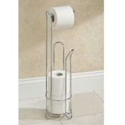 CHROME WIRE FRAME BATHROOM TOILET PAPER ROLL HOLDER FREE STANDING 3 ROLL STROGE