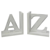 New England A - Z Bookends Distressed Look White Large Letter Wooden