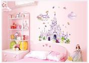 WallPicture Art-Princess Castle Wall Stickers Flowers Butterfly Decal Nursery Wallpaper XMK-A0002TX