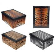 Decorative Tiger Animal Print Design Folding Room Tidy Bedroom Toy Storage Box