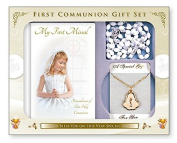 First Holy Communion Gift Set Missal Book & Rosary & Chalice Necklace + Prayer Card