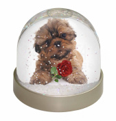 Shih Tzu Dog with Red Rose Snow Dome Globe Waterball Gift