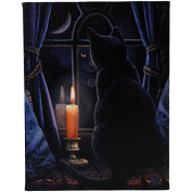 Midnight Vigil - Black Cat at Night with Candle in Window - Fantastic Design by Artist Lisa Parker - 19cm x 25cm Canvas Picture on Frame Wall Plaque / Wall Art