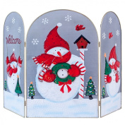 The Christmas Workshop 70 cm Snowman Decorated Fire Guard Surround
