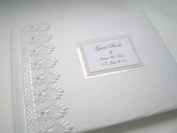 "Luxury Boxed & Personalised Wedding Vintage ""Guipure Lace"" Guest Book"
