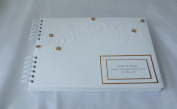Golden Wedding Anniversary Personalised Guest Book/Album ,A4 With Flowers And Swirls