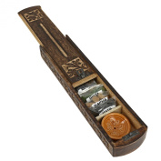 Handmade Indian Wooden Incense Burner and Storage Box with Ayurveda Vata Pitta Kapha Incense & Ceramic Holder - Great Gift for Any Occasion