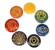 Reiki Chakra Stones, Set of 7 Chakra Stones with Engraved Chakra Symbols Includes Pouch.