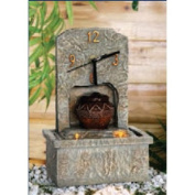 Clock on Stone Effect Wall Indoor Water Feature