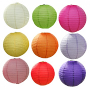 JTC 10cm Diameter Chinese Round Paper Lantern Christmas New Year Decor 9-Pack 9Colors