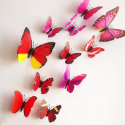 12 Pieces 3D Butterfly Stickrs Fashion Design DIY Wall Decoration House Decoration Babyroom Decoration-RED