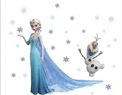 Frozen Elsa Olaf Snowflakes Wall Decal Sticker Vinyl Kids Baby Child Decor 40*60cm