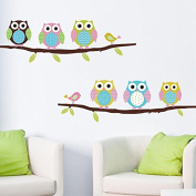 "CasaNet- Sticker Murals Colourful, Paper Walls / Glass ""6 Owls Birds Branches"" Sticker DO IT YOURSELF"