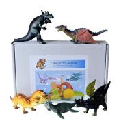Dragon dinosaur fantasy toy plastic figures boxed set of 5