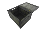Wooden Brown White Kids Playroom Toy Box Chest Bathroom Laundry Basket Bin + Lid[Chest/Box (Brown),Large 40x32x26 cm]