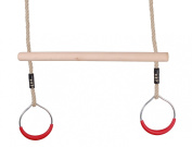 Garden Trapeze Swing Bar with Round Gym Ring handles for climbing frame etc
