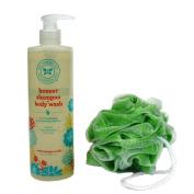 The Honest Company Shampoo and Body Wash, Sweet Orange Vanilla, 500ml pump with Small Loofah