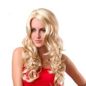 Tech-p 60cm Fashion Office Lady Elegance Woman Long Wave Blond Wig