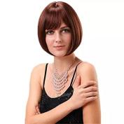 TECH-P Short Hair Wig Natural As Real Hair Cosplay Wigs Neat Bangs Bob Wigs