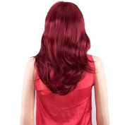 TECH-P 60cm Long Heat Resistant Curly Dark Red Office Lady Party Lady Elegent Wig