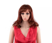 TECH-P Sexy Nature Curly Woman Middle Dark Red Fashion Wig